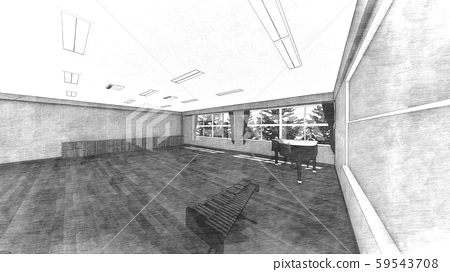 School Music Room No Chairs No People Illustration 44