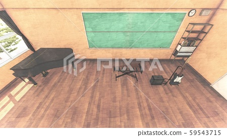 School Music Room No Chairs No People Illustration 40