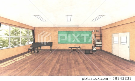 School Music Room No Chairs No People Illustration 36