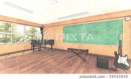 School Music Room No Chairs No People Illustration 33