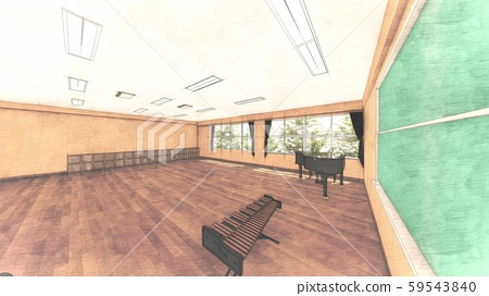 School Music Room No Chairs No People Illustration 34