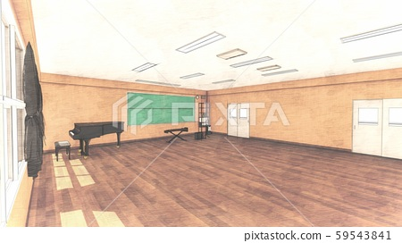 School Music Room No Chairs No People Illustration 32