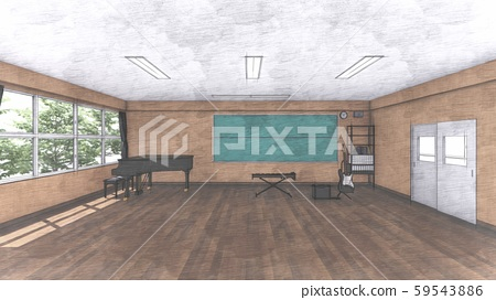 School Music Room No Chairs No People Illustration 26