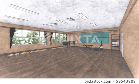 School Music Room No Chairs No People Illustration 25