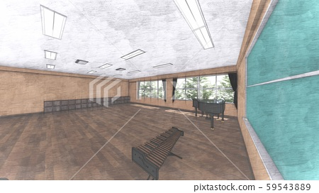 School Music Room No Chairs No People Illustration 24
