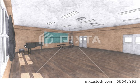School Music Room No Chairs No People Illustration 22