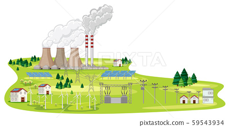 Scene with factories and houses 59543934