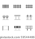 Set of black and white fence different icon with 59544486