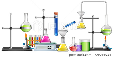 Set of science equipments on white background 59544534