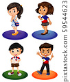 Four asian kids with happy smile 59544623