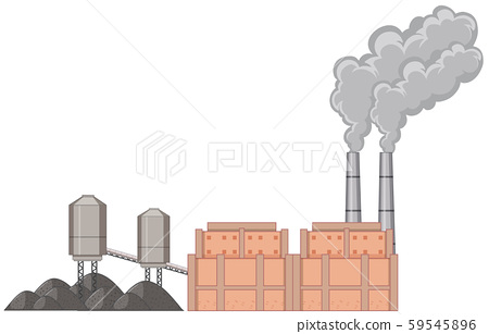 Factory building with smoke 59545896