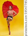 Full length portrait of cute girl with red opened umbrella 59547785