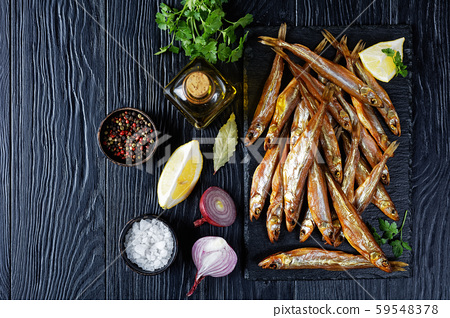 cold smoked smelts, top view, flat lay 59548378