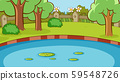 Background scene with pond and trees in the park 59548726