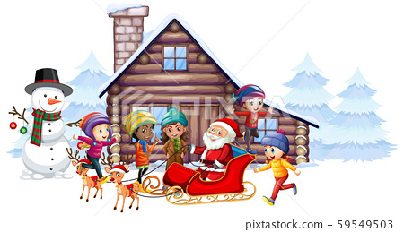 Santa claus and kids on the sleigh 59549503