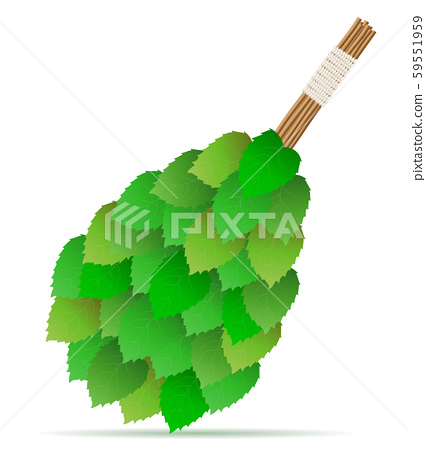 broom made of birch branches for a bath or sauna 59551959