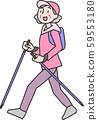 徒步旅行的高級女子 59553180
