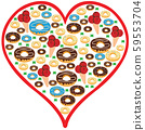 Doughnat and ice cream design in an heart shape 59553704
