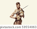 Muscular warrior with sword against of white background 59554063