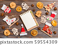 Top view of notebook on wooden background made of 59554309