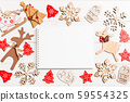 Top view of notebook on wooden background made of 59554325