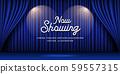 Cinema Theater curtains blue banner background 59557315
