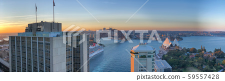 Panoramic aerial view of Sydney Harbor Bridge, 59557428