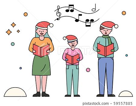 Carol Singing Family Performing Songs on Xmas 59557885