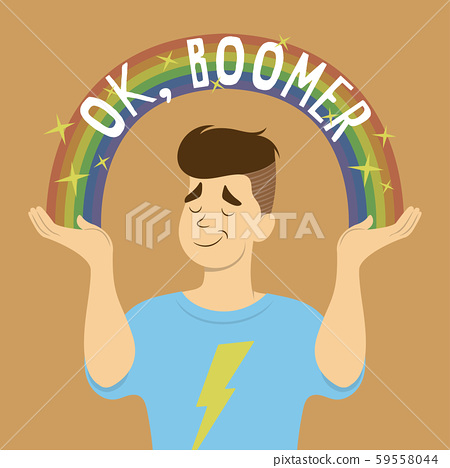Flat vector cartoon of young man with stylish hair, smug face, and thunder T-shirt shrugs. Sparkle rainbow with OK, Boomer text arch from his hands. Inspired by popular memes. 59558044