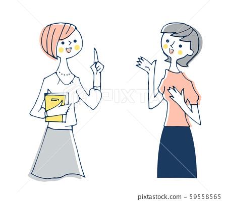 两个说话的女人 59558565