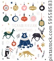 Christmas, New Year icons set in flat style. Nordic animals and birds and floral folk elements 59558583