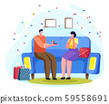 Male Proposing Female to Get Married Indoor Vector 59558691