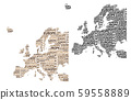 Map of continent Europe - vector illustration 59558889