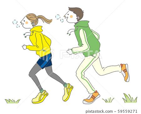 年輕人在做馬拉松 59559271