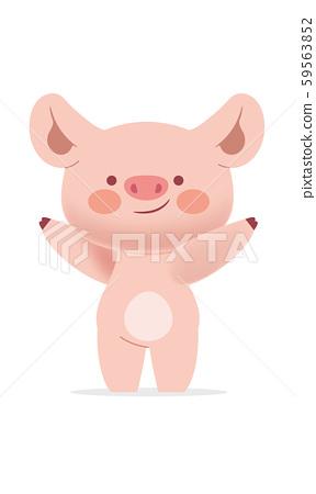 可愛的豬角色 59563852