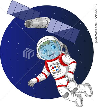 Cartoon boy astronaut flying in space 59568067