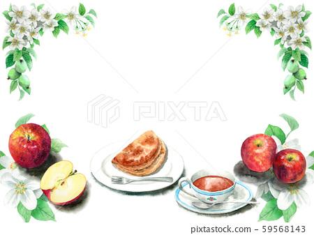 蘋果派和蘋果畫水彩 59568143