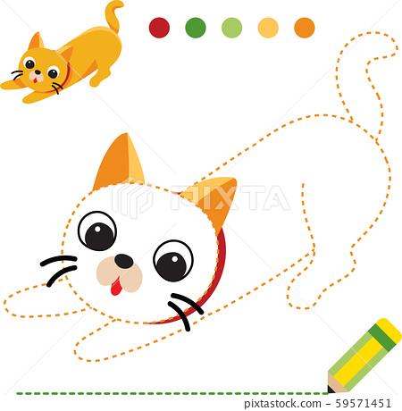 cat worksheet vector design, dash game for kid. 59571451