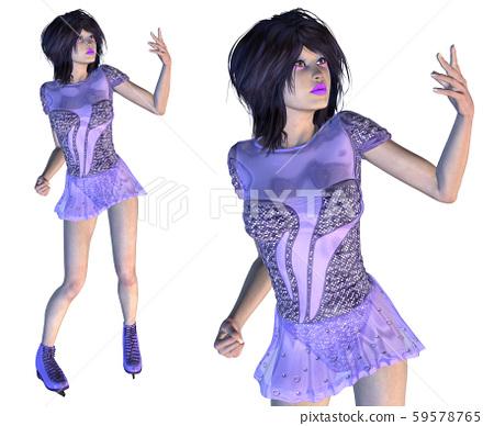 Figure Skater in Violet Dress 59578765