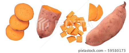 Sweet potato isolated on white background closeup. Top view. Flat lay. 59580173
