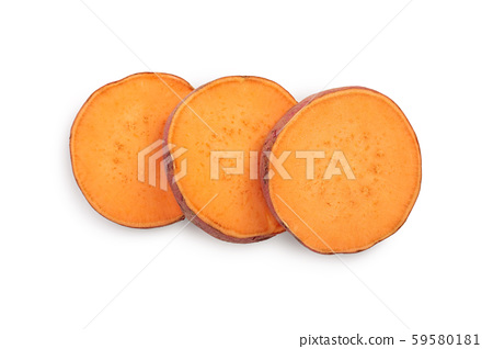 slice sweet potato isolated on white background closeup. Top view. Flat lay. 59580181