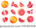 Grapefruit and slices with leaves isolated on white background. Top view. Flat lay pattern 59580508