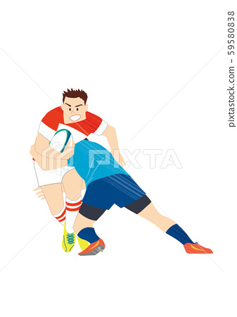 Rugby player playing a match 59580838