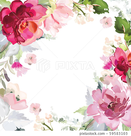 Vector card with floral pattern in watercolor 59583103