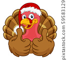 Turkey In Santa Hat Christmas Thanksgiving Cartoon 59583129