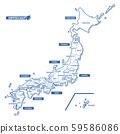 日本地圖簡單的白色地圖縣名(英文) 59586086