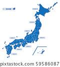 日本地圖簡單藍色(純色) 59586087