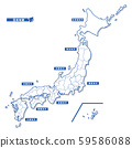 日本地圖簡單的白色地圖(普通) 59586088