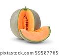 cantaloupe melon slices isolated on white 59587765