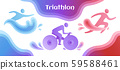 Swimming, cycling, and running triathlon milestones horizontal banner template. Colorful vector illustration for web and printing. 59588461